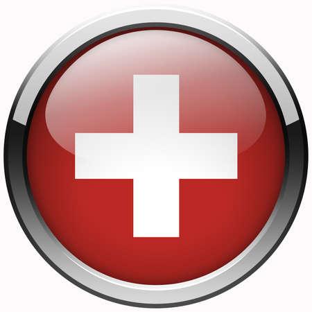 zwitserland vlag: zwitserland vlag gel metalen knop Stockfoto