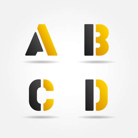 d: abcd yellow stencil letters