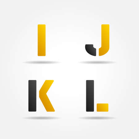 letter i: ijkl yellow stencil letters