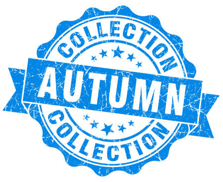 autumn collection blue grunge stamp photo