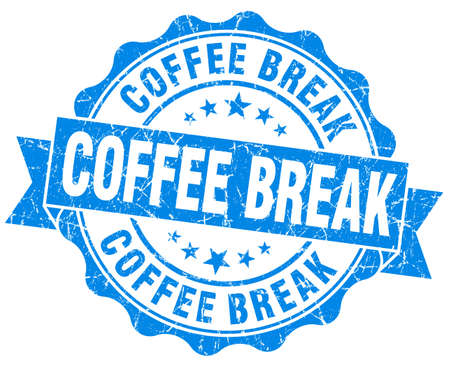 coffee break blue grunge stamp photo