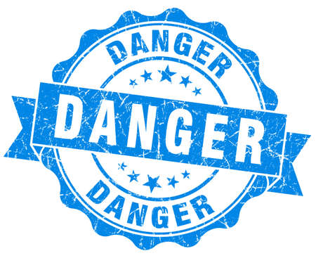 danger blue grunge stamp photo