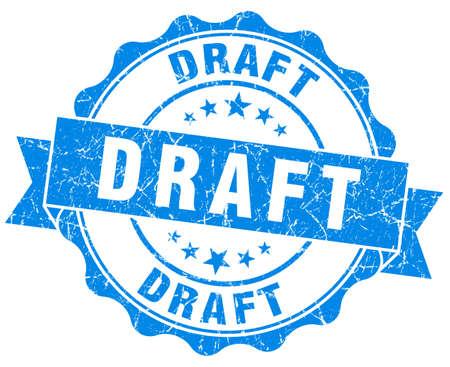 draft blue grunge stamp
