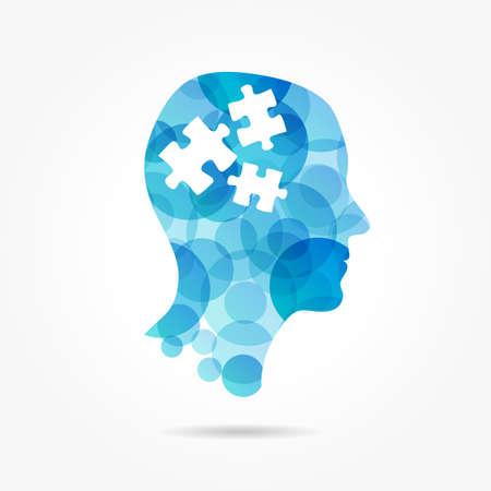 cerebros: puzzle en el cartel de cabeza de la burbuja Vectores
