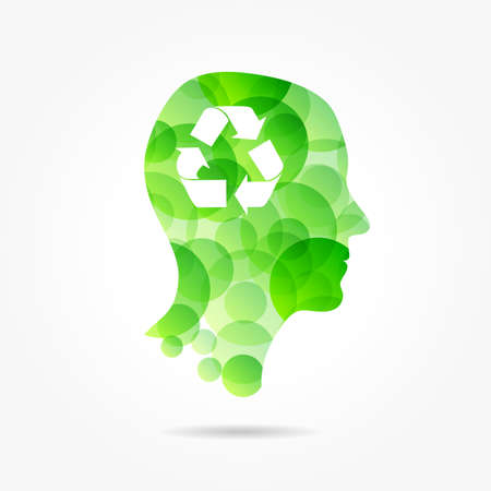 recycling symbol in green bubble head poster