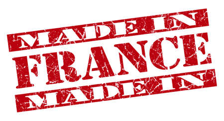 made in France grunge red stamp photo