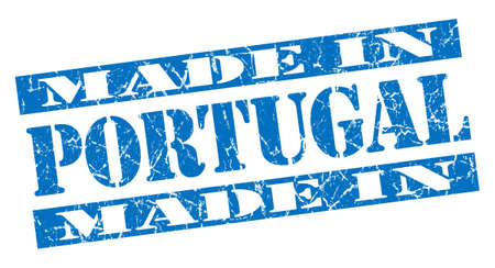 made in Portugal grunge blue stamp photo
