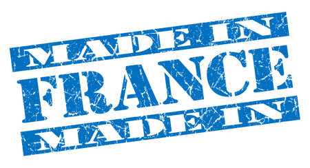 made in France grunge blue stamp photo