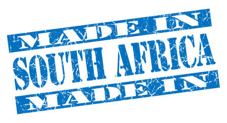 made in South Africa grunge blue stamp photo