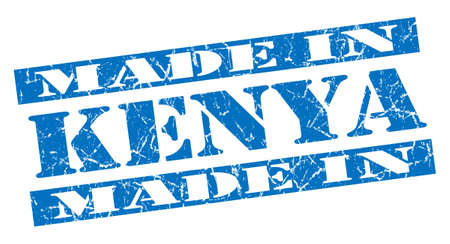made in Kenya grunge blue stamp photo