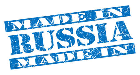 made in Russia grunge blue stamp photo