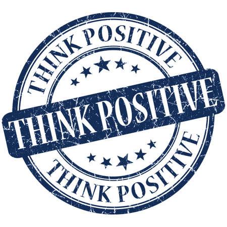 think positive grunge round blue stamp photo