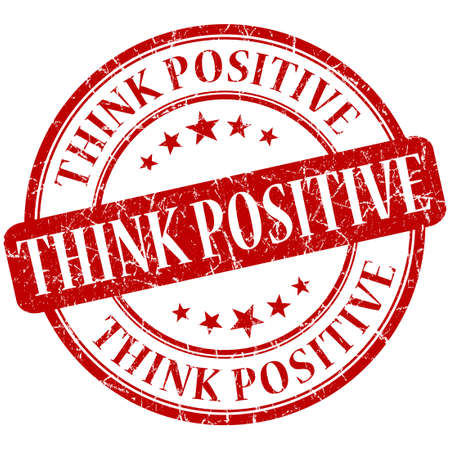 think positive grunge round red stamp photo