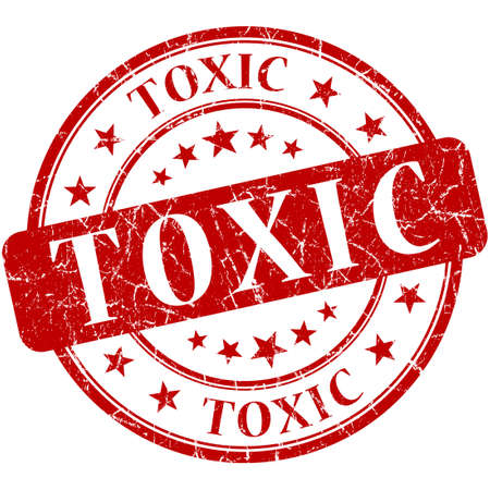 toxicology: toxic grunge round red stamp Stock Photo