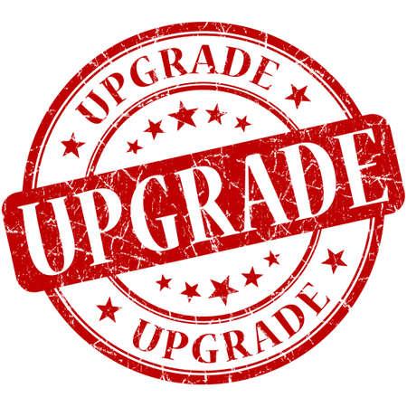 upgrade: upgrade grunge round red stamp Stock Photo
