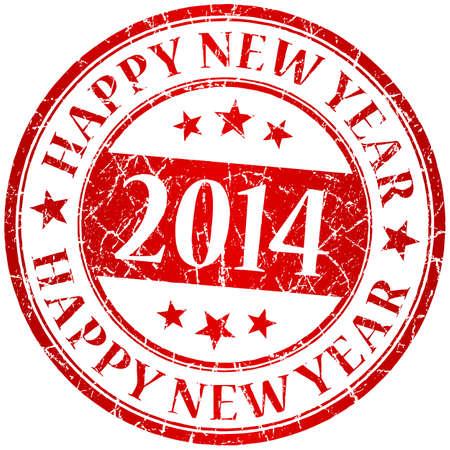 happy new year stamp: A�o nuevo 2014 rojo vector sello feliz grunge
