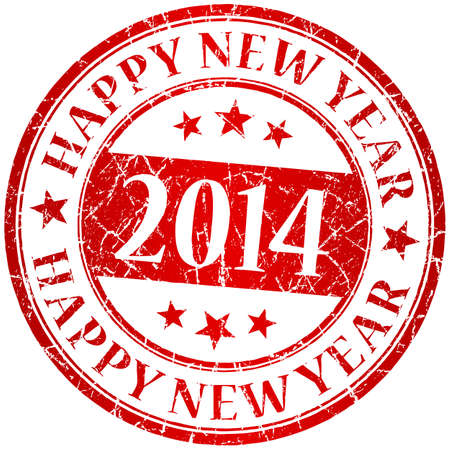Happy new year 2014 red vector grunge stamp Vector