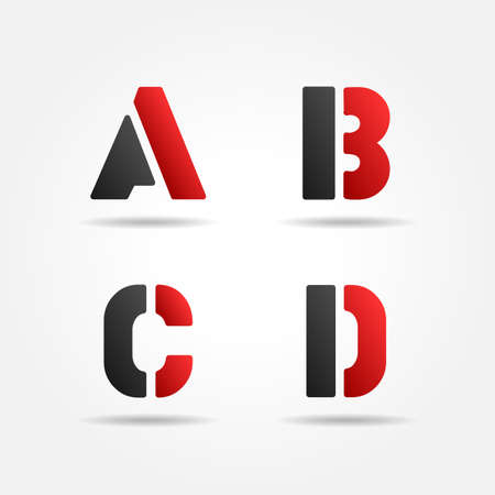 decorative letter: abcd red stencil letters