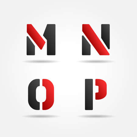 mnop red stencil letters Ilustracja