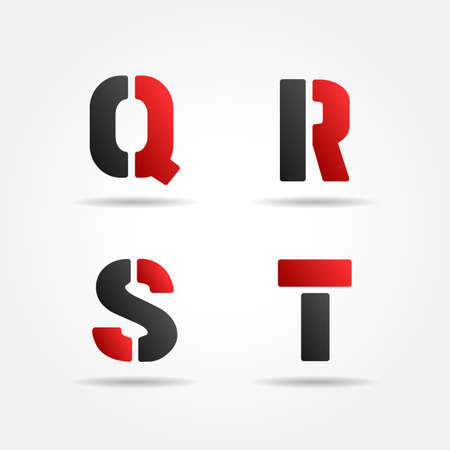 qrst red stencil letters Vector