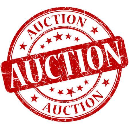 Auction grunge red round stamp