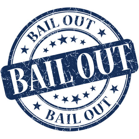 bail: Bail out grunge blue round stamp