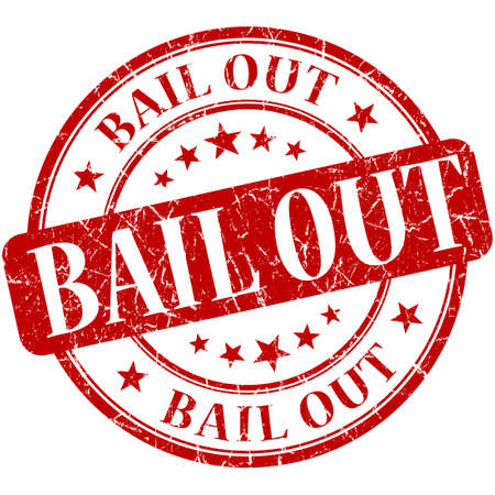 bail: Bail out grunge red round stamp