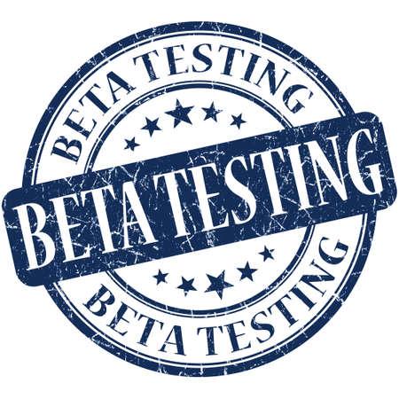 beta: Beta testing grunge rotonda blu francobollo Archivio Fotografico