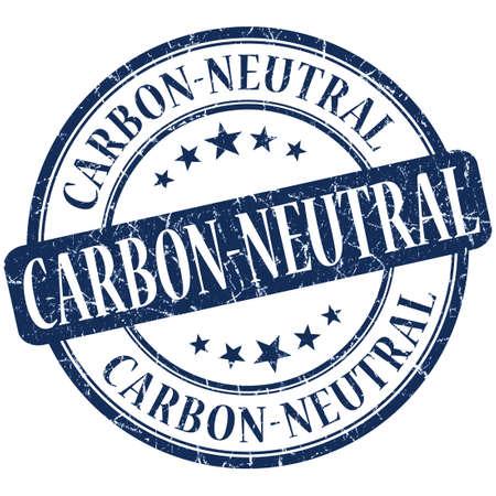 carbon neutral: carbon neutral grunge blue round stamp