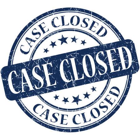 finished: Case closed grunge blue round stamp