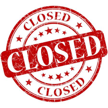 shut down: Closed grunge red round stamp