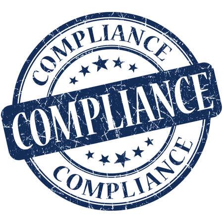 Compliance grunge blue round stamp 写真素材