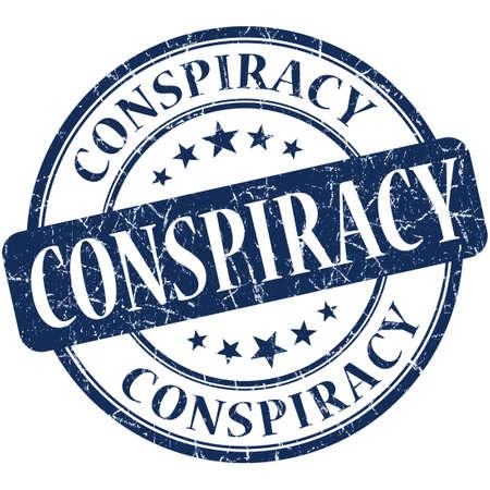 conspiracy: Conspiracy grunge blue round stamp