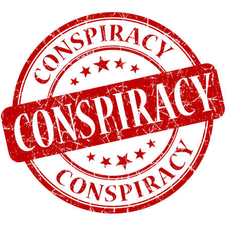 conspiracy: Conspiracy grunge red round stamp