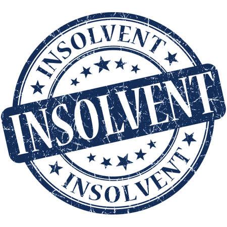 insolvent: Insolvent grunge blue round stamp