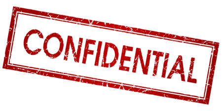 confidential red square vector stamp isolated on white background  イラスト・ベクター素材