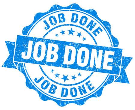 finished: job done grunge round blue seal Stock Photo