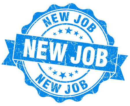 New job grunge round blue seal photo