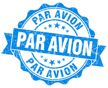 avion: Par avion grunge round blue seal Stock Photo