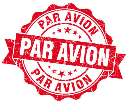 avion: Par avion grunge round red seal