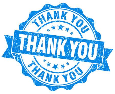 Thank you grunge round blue seal