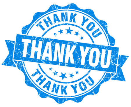 agradecimiento: Thank you grunge sello redondo azul
