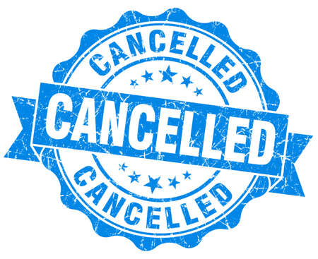 Cancelled grunge round blue seal photo