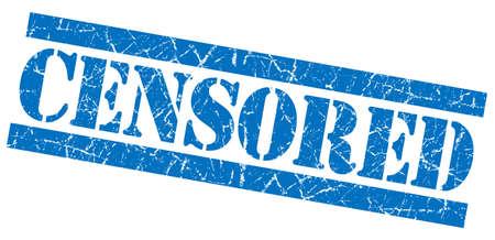 censure: Censored grunge blue stamp Stock Photo