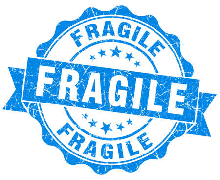 Fragile grunge round blue seal photo
