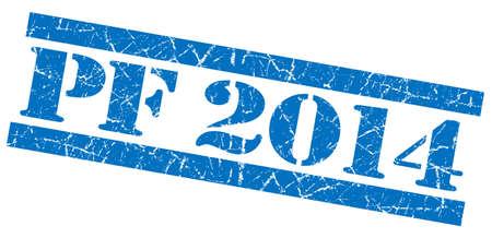 pf: PF 2014 grunge blue stamp Stock Photo