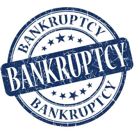 moneyless: Bankruptcy grunge blue round stamp
