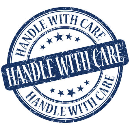 breakable: Handle with care grunge blue round stamp