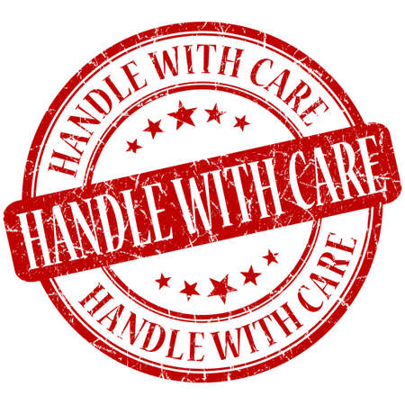 handle with care: Handle with care grunge red round stamp Stock Photo