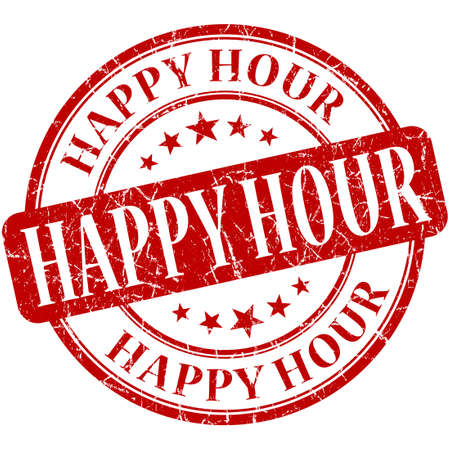 the hour: Happy hour grunge rosso rotondo timbro